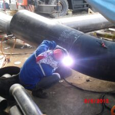 mechanic-Welding Carbon Steel Piping at workshop PKT-5 Project